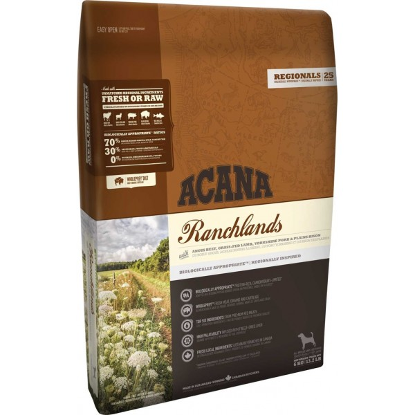 Acana Ranchlands Adult All Breeds Beef,Lamb,Vension Храна за Израснали Кучета Всички Породи с Говеждо, Агнешко и Бизонско