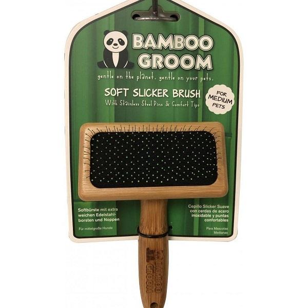 Alcott Bamboo Groom Soft Slicker Brush with Stainless Steel & Comfort Pins - Бамбукова Четка с Ъглови Метални Бодлички за Всеки тип Козина
