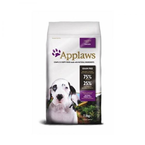 Applaws Puppy Large Breed Chicken -Аплаус Суха Храна за Растящи Кученца от Едри Породи, с 75% пиле