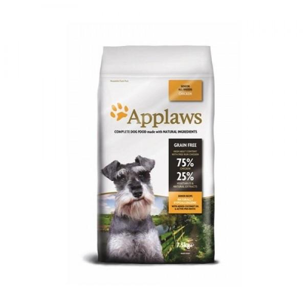 Applaws Senior All Breeds - Аплаус Суха Храна за Възрастни Кучета от Всички Породи, с 75% пиле