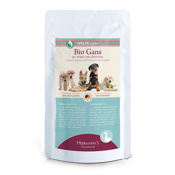 Herrmann's Bio Pouch Puppy Goose Био Храна за Кученца с месо от гъска, спанак и картофи