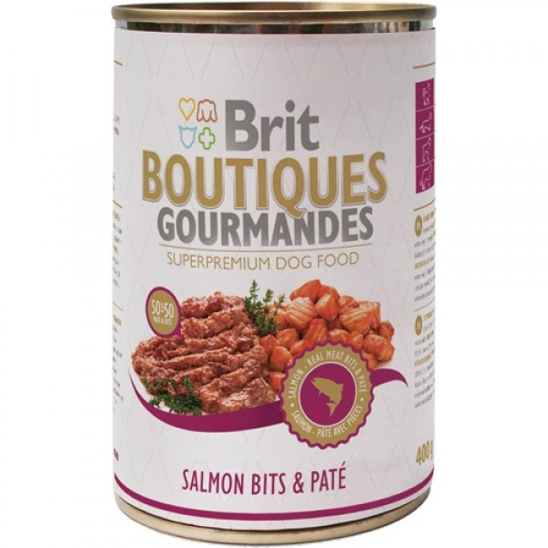 Brit Premium BOUTIQUES Gourmandes salmon - Пълноценна храна хапки в пастет със сьомга