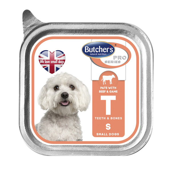 Butcher's Pro series T with beef and game - пастет с говеждо месо и дивеч, за малки кучета до 10 кг. 150 гр.
