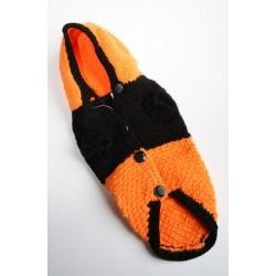 Дрешка за Малко Куче-Оранжево-черна- Ръчно Плетена