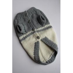 Плетена Дрешка - Ръчно Изработена Сиво-бяла