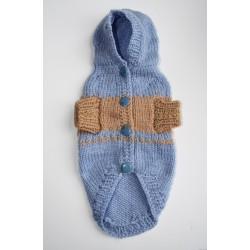 Плетена Дрешка с Качулка - Ръчно Изработена Синьо-кафява