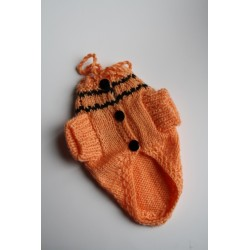 Пуловер за Малко Куче - Оранжев - Ръчно Плетена