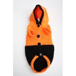 Суитчер за Малко Куче-Оранжево-черна- Ръчно Плетена