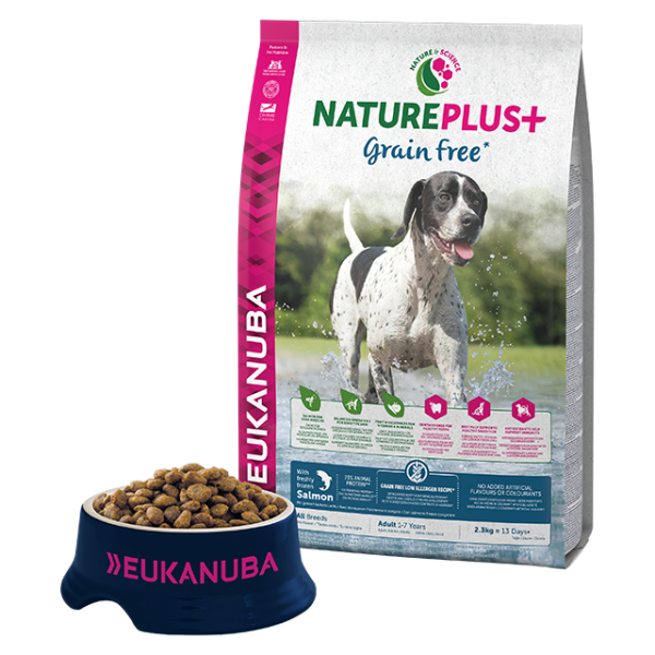 Eukanuba Natureplus Grain FREE Adult Salmon - без зърнени култури, за кучета nad 12 месеца, всички породи