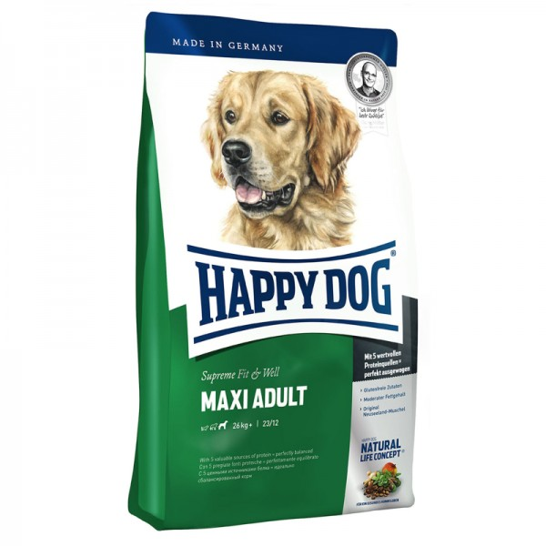 Happy Dog Adult Maxi Хепи Дог Адълт Макси за Възрастни над 1 год. от Големи Породи с Тегло над 26 кг