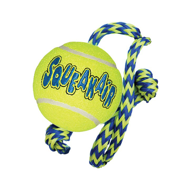 KONG Air Squeaker Tennis Ball With Rope - кучешка играчка тенис топка