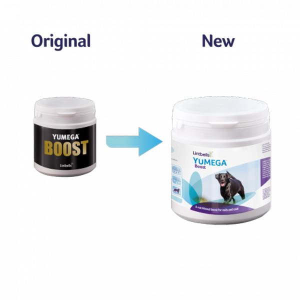 Lintbells Yumega Boost - комбинация от хранителни добавки за по бърз растеж, здрава и лъскава козина