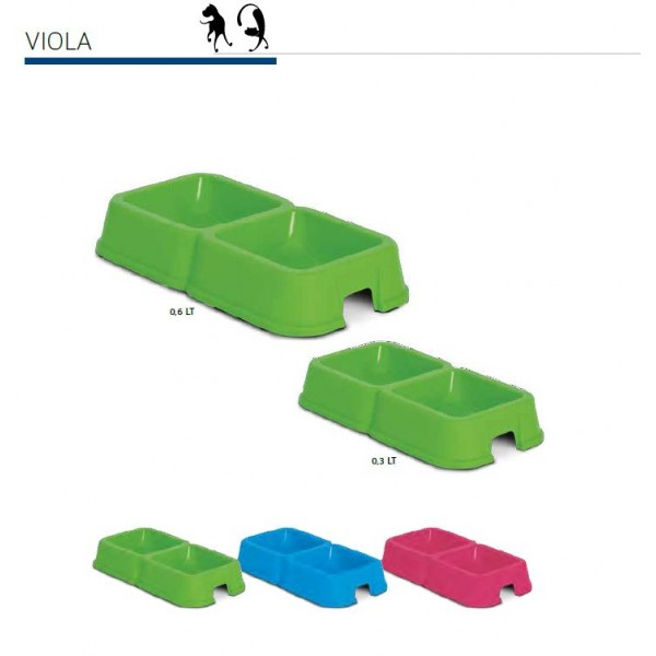 M.P.Bergamo Viola - двойна пластмасова купичка за храна или вода