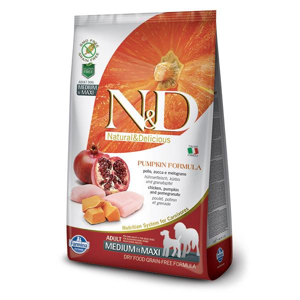 Храна за кучета N&D ADULT MEDIUM & MAXI PUMPKIN Средни и големи породи израснали кучета с тиква, пилешко и нар