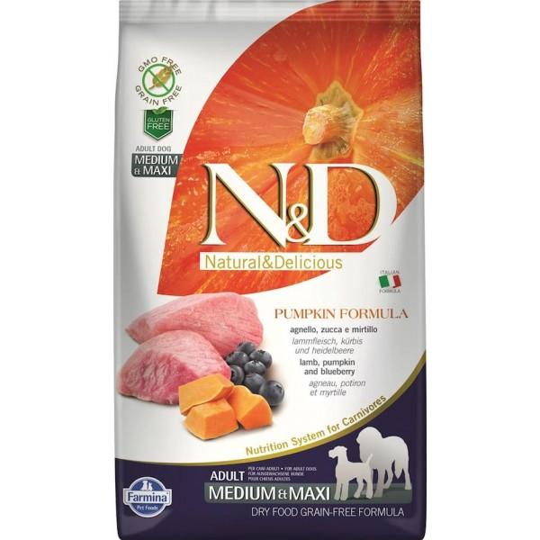 Храна за кучета N&D ADULT MEDIUM & MAXI PUMPKIN Средни и големи породи кучета тиква с агнешко и боровинки