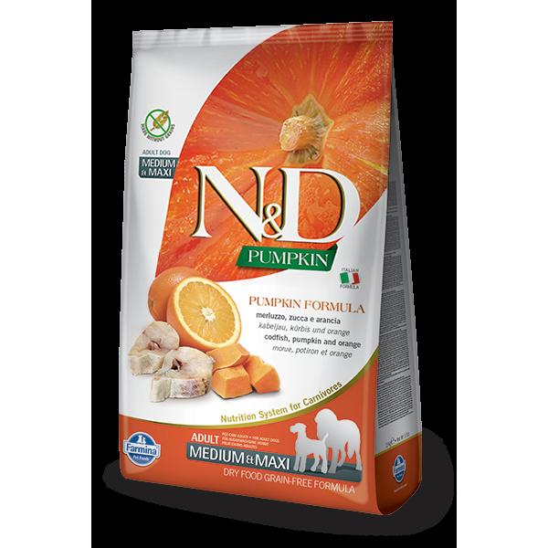 Храна за кучета N&D OCEAN ADULT MEDIUM & MAXI PUMPKIN Средни и големи породи кучета с тиква, риба треска и портокал