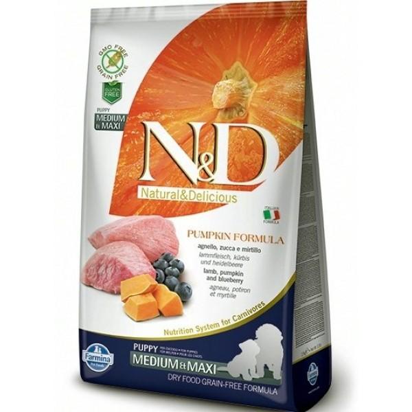 Храна за кучета N&D PUPPY MED&MAXI PUMPKIN Средни и големи породи кученца бебета тиква с агнешко и боровинки