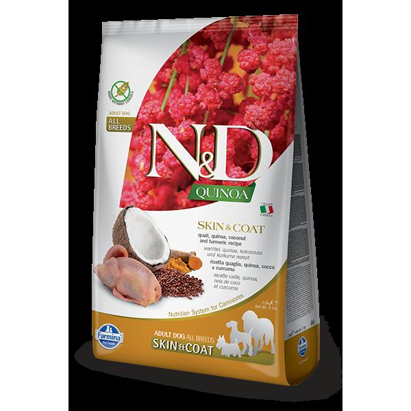 Храна за кучета N&D QUINOA SKIN & COAT QUAIL ADULT Всички породи кучета с пъдпъдък, киноа, кокос и куркума