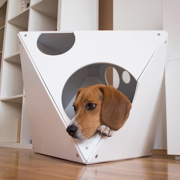 White Place Modern Dog House Стилна Бяла Къщичка за Куче