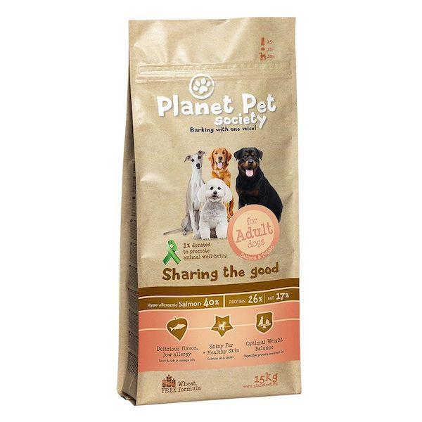 Planet Pet Society Salmon & Potato - пълноценна храна със сьомга и картофи - за всички породи кучета над 1 год.