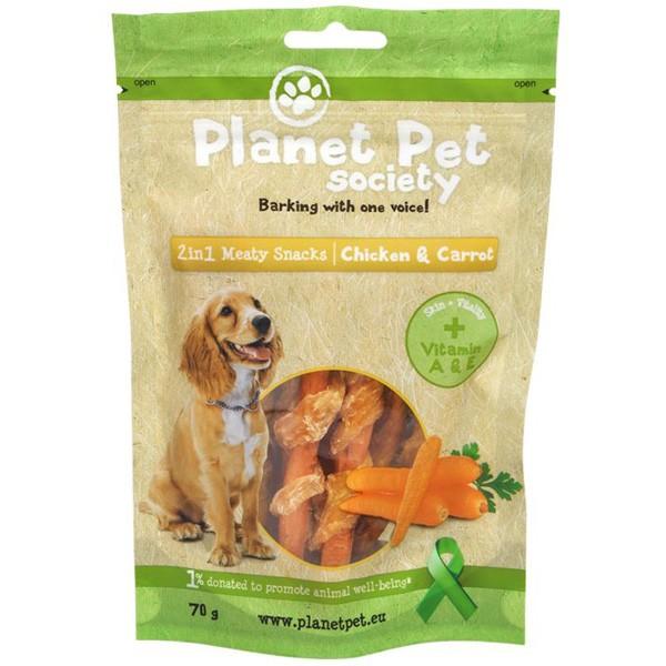 Planet Pet 2 in 1 Meaty Snacks Chicken & Carrot - деликатесно лакомство с пилешко месо и моркови 70 гр.