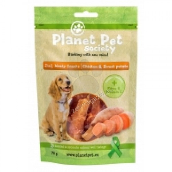 Planet Pet 2 in 1 Meaty Snacks Chicken & Sweet Potato - деликатесно лакомство с пилешко месо и сладки картофи 70 гр.
