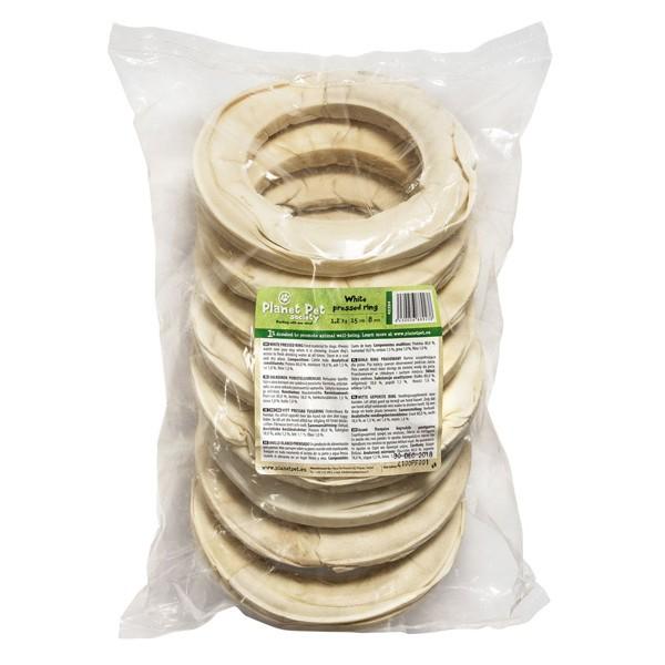 Planet Pet White pressed ring - деликатесно лакомство от телешка кожа 15 см. / 8 броя / 1200 грама