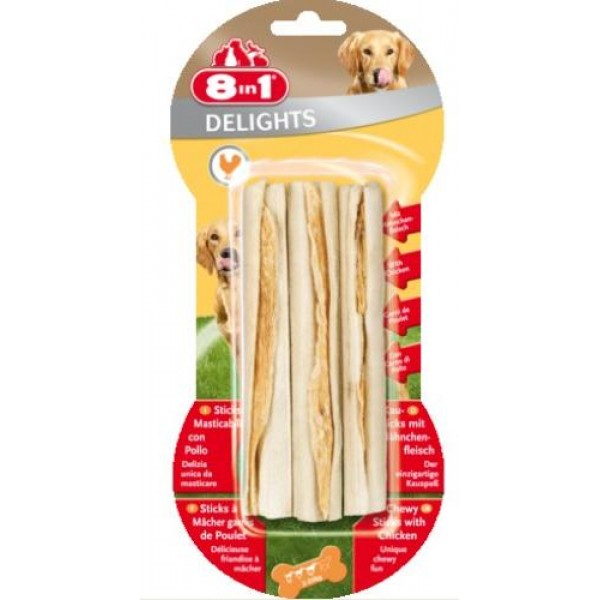 8 in 1 - лакомство за кучета, пръчици пилешко месо 3бр.