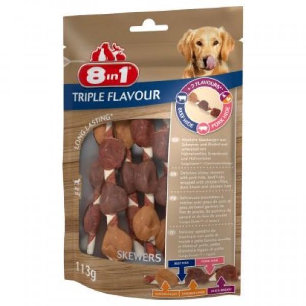 8 in 1 - лакомство за кучета, TRIPLE FLAVOUR - Шишчета