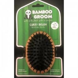 Alcott Bamboo Groom Curry Brush with Rubber Bristles - Бамбукова Четка с Гумени Бодлички за Всеки Тип Козина