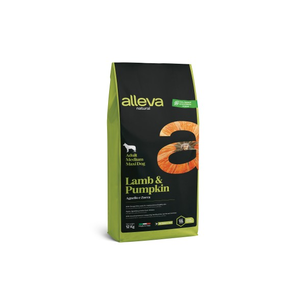 Alleva Natural Lamb & Pumpkin | Adult Medium/Maxi - Пълноценна храна за възрастни кучета от средни и едри породи