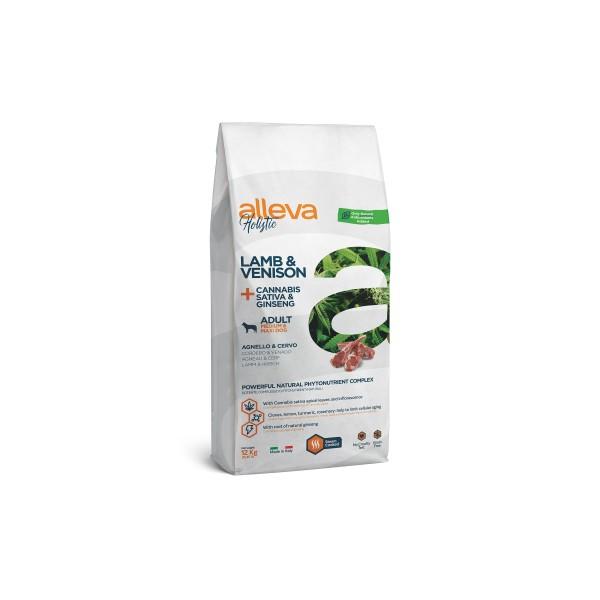 Alleva Holistic Lamb & Venison + Cannabis Sativa & Ginseng | Adult Medium/Maxi - Пълноценна храна за възрастни кучета от средни и едри породи
