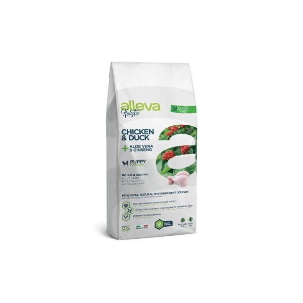 Alleva Holistic Chicken & Duck + Aloe Vera & Ginseng | Puppy Maxi - Пълноценна храна за кученца от едри породи, както и за бременни и лактиращи кучета