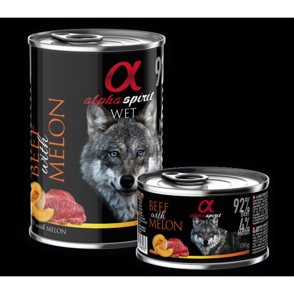 Alpha Spirit Complete WET Dog Food, Beef with Melon - Пълноценна мека храна за куче с Телешко и Пъпеш