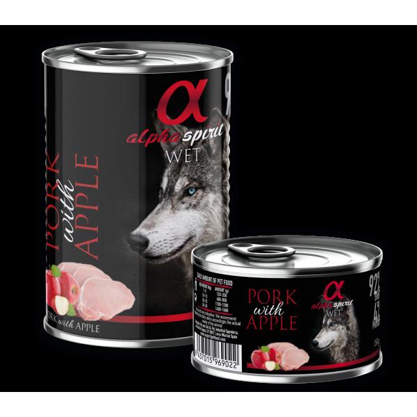 Alpha Spirit Complete WET Dog Food, Pork with Apple - Пълноценна мека храна за куче със Свинско и Ябълка