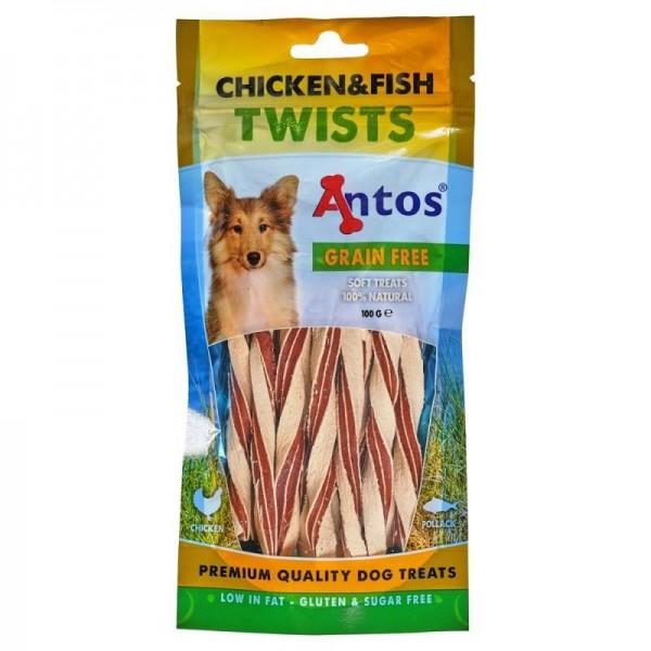 Antos усукани лентички за кучета - пиле и риба 100 гр