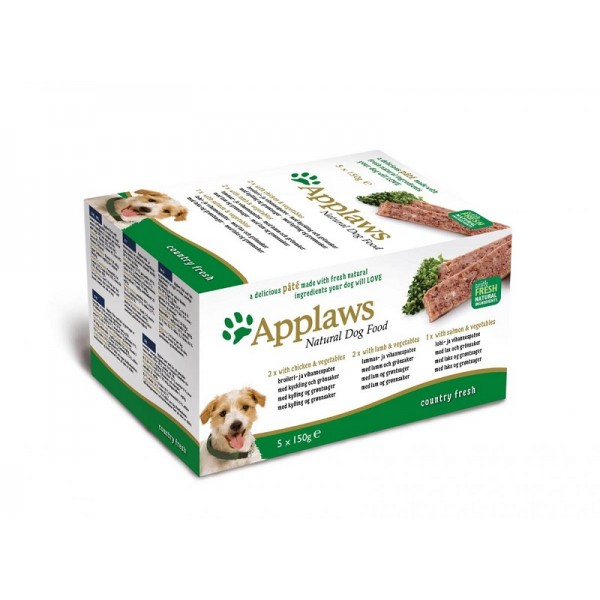 Applaws Pate Country Selection Multipack - Пастети селеция - Пиле, Агне, Сьомга за кучета