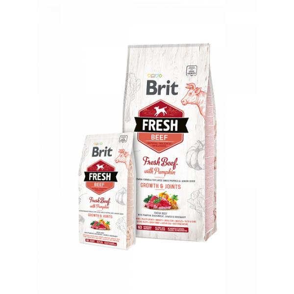 Brit Fresh Beef with Pumpkin Puppy Large Bones & Joints - Холистична храна за кученца от  3 до 24 месеца от големи породи над 25 кг.
