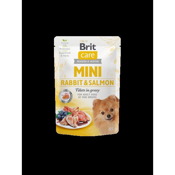 Brit Care Mini Rabbit & Salmon fillets in gravy - пауч с вкус на заек и сьомга за кученца