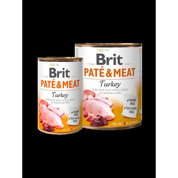 BRIT PATÉ & MEAT - TURKEY - консервирана храна за кучета с 26% прясно пуешко 24% пилешко
