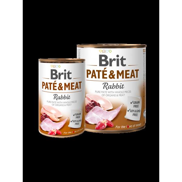 BRIT PATE & MEAT RABBIT - консервирана храна за кучета с 27% прясно заешко месо