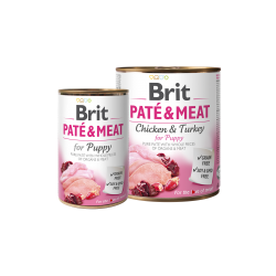 BRIT PATÉ & MEAT - PUPPY - консервирана храна за кучета с 29% прясно пилешко месо и 21% пуешко