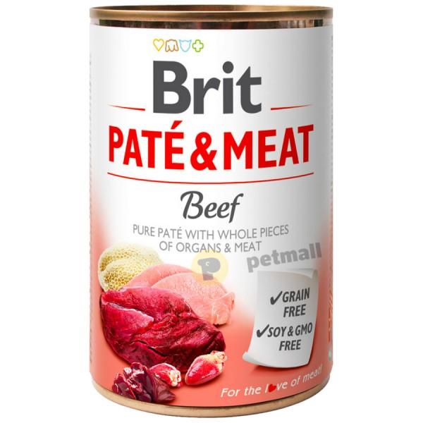 BRIT PATÉ & MEAT - BEEF -  Консервирана храна за кучета с 27% прясно телешко месо и 23% пуешко месо