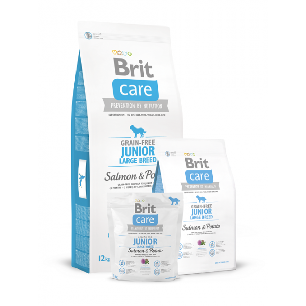 Brit Care Grain-free Junior Large Breed Salmon & Potato -Брит Без Зърнена Храна за Млади Кучета от Едри Породи със Сьомга и Картофи