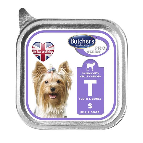 Butcher's Pro series Т with veal and carrots - пастет с телешко месо и моркови, за малки кучета до 10 кг. 150 гр.