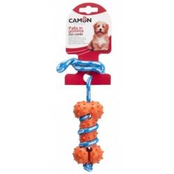 Играчка за кучета Camon Dog Toy Rubber Bone Rope Гумена Кост с Въже 35см.