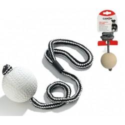 Играчка за Кучета Camon Rubber Ball Rope Мека Гумена Топка с Въже