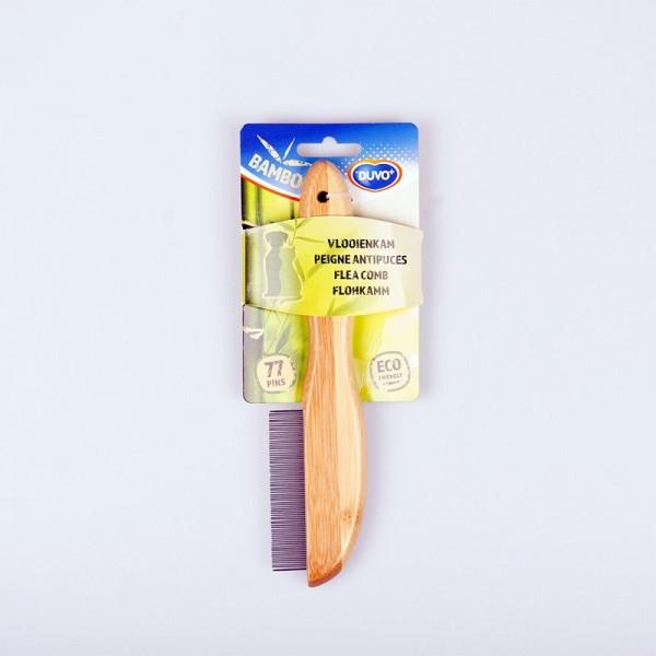 Duvo бамбуков ситен гребен за късокосмести кучета/против паразити, 77 зъба