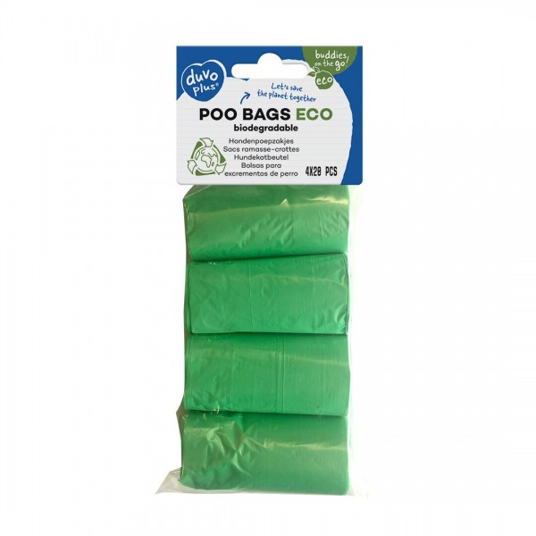 Duvo биоразградими зелени торбички за кучета 4 х 20 бр