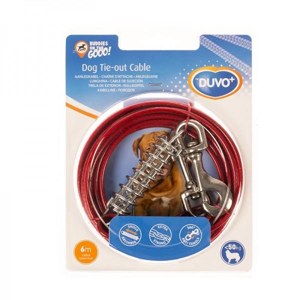 Duvo червено метално въже с пружина за кучета